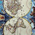Antique Vintage Map of the Known World Circa 1630 by pjwuebker