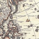 Antique Vintage Map of Chinean Sea Circa 1652 by pjwuebker