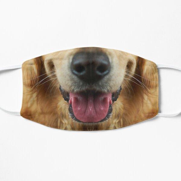 golden retriever dog cute mouth face masks  Flat Mask