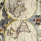 17th Century Antique Map of the World by pjwuebker