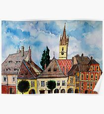 Evangelical Church Tower from Sibiu Transylvania Poster