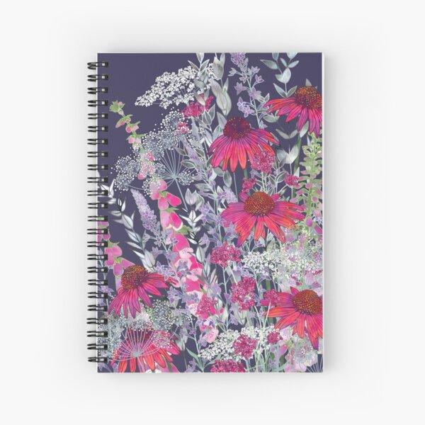 Pink Flower Garden - Echinacea Flowers, Foxgloves & Ammi Spiral Notebook