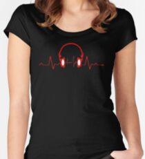 Headphones Heartbeat Women's Fitted Scoop T-Shirt