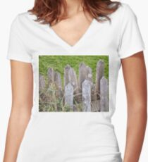 Vintage Farm Picket Fence Women's Fitted V-Neck T-Shirt