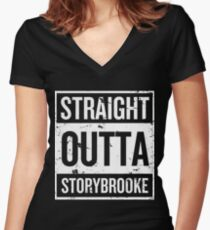 Straight Outta Storybrooke - White Words Women's Fitted V-Neck T-Shirt