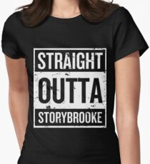 Straight Outta Storybrooke - White Words Women's Fitted T-Shirt