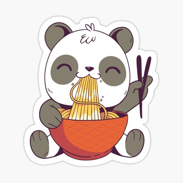 Cute panda bear eating ramen Sticker
