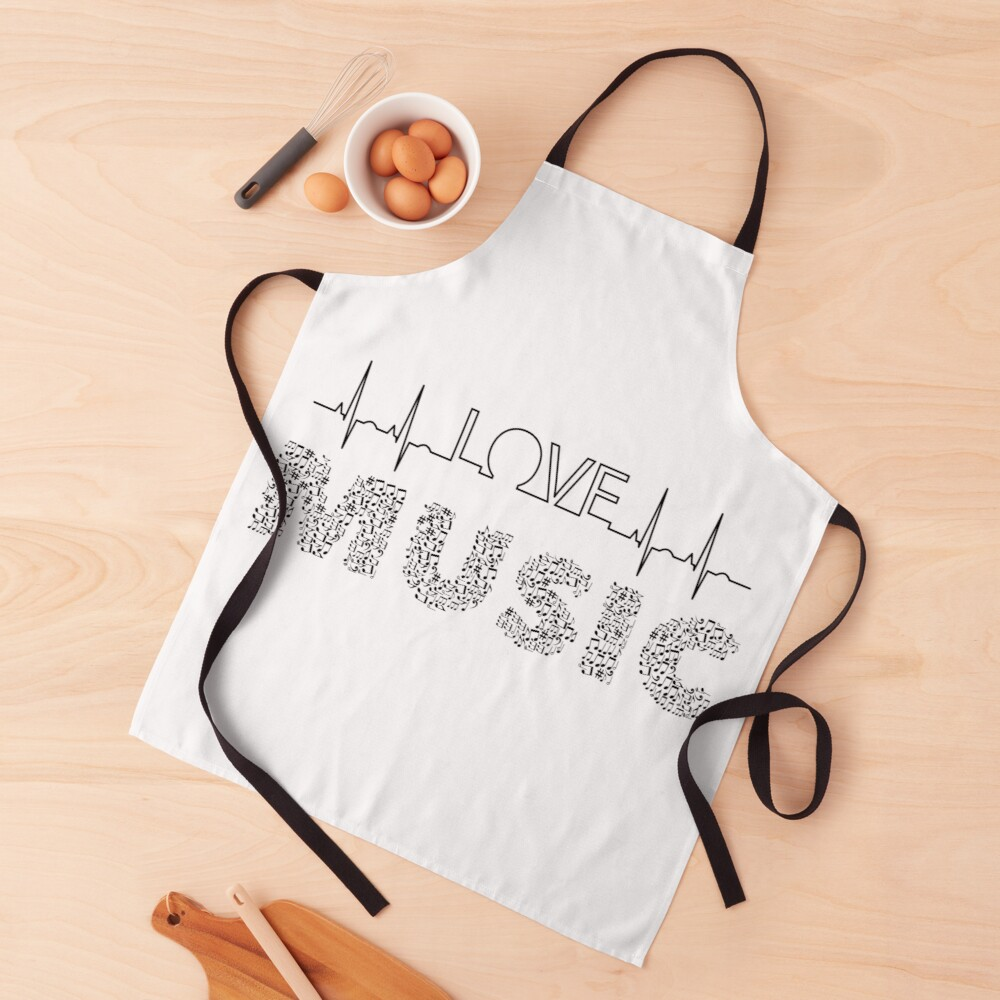 Love Music Musical notes Heartbeat Apron