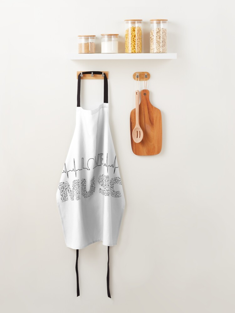 Alternate view of Love Music Musical notes Heartbeat Apron