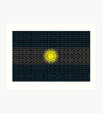digital Flag Argentina Art Print
