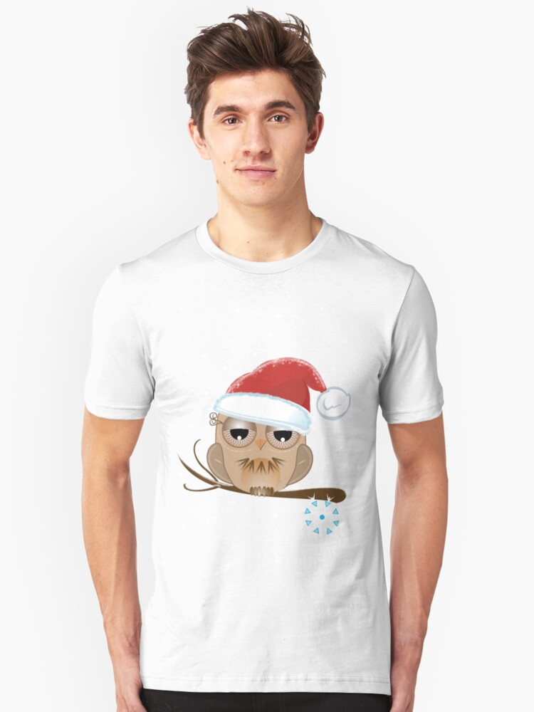 Cute Owl with Santa hat Tee Unisex T-Shirt Front