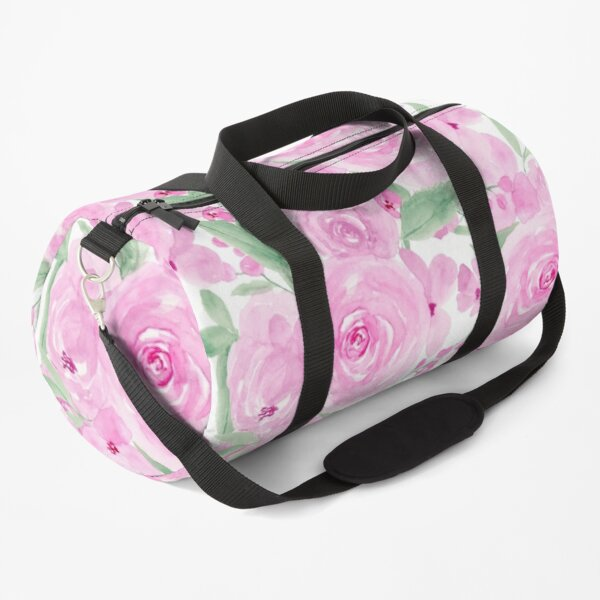 Modern girly pink green floral watercolor pattern Duffle Bag