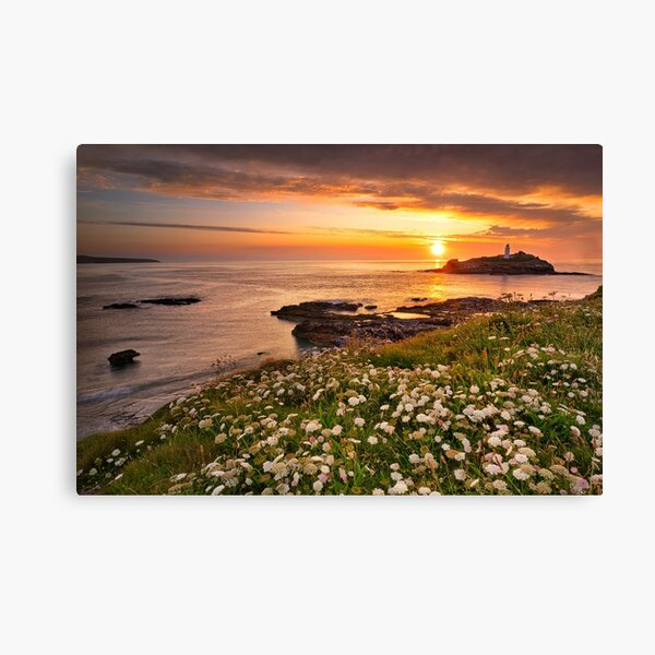 Sunset at Godrevy in Cornwall Canvas Print
