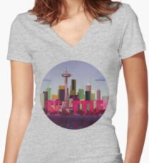 Seattle Women's Fitted V-Neck T-Shirt