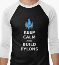 Keep Calm and build PYLONS Men's Baseball ¾ T-Shirt