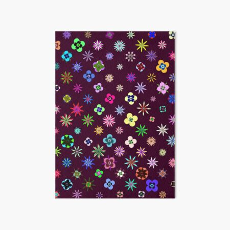 Happy Flower Pattern on Mulberry PanicDay Art Board Print