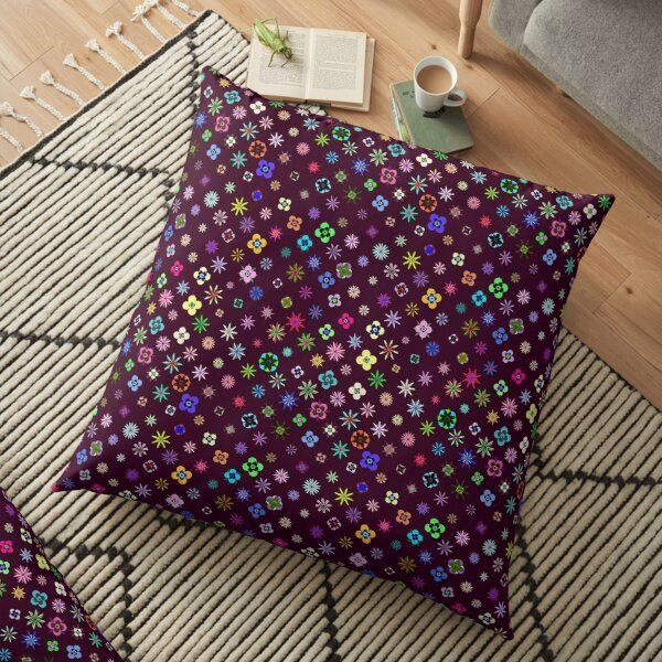 Happy Flower Pattern on Mulberry PanicDay Floor Pillow