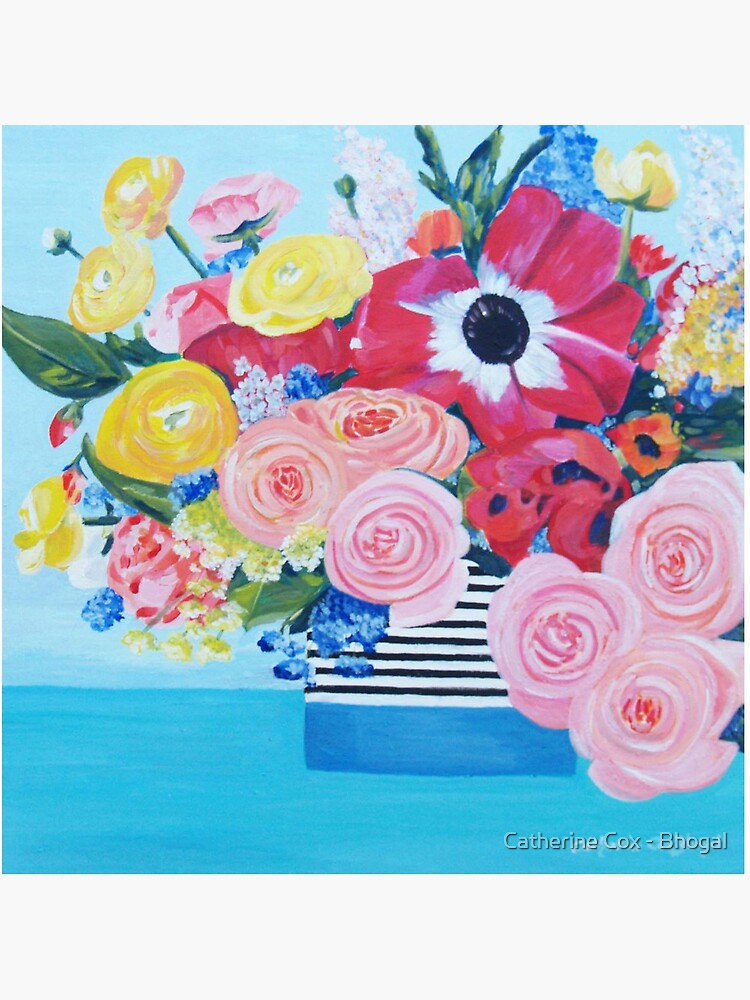 A vase full of Ranunculus, lupins and roses artwork 'A bouquet of sunshine' of by Catherine Cox-Bhogal by Starsthatshine
