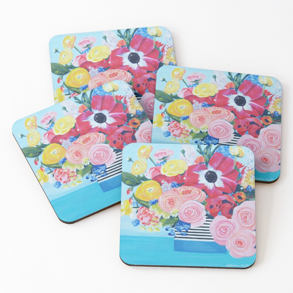 A vase full of Ranunculus, lupins and roses artwork 'A bouquet of sunshine' of by Catherine Cox-Bhogal Coasters (Set of 4)