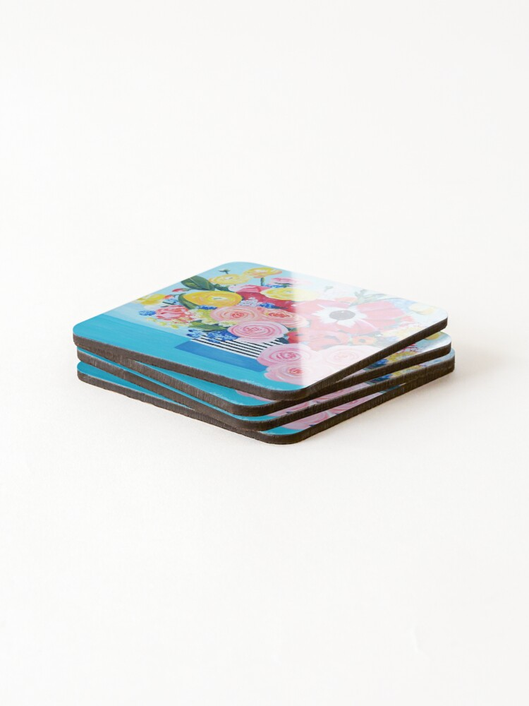Alternate view of A vase full of Ranunculus, lupins and roses artwork 'A bouquet of sunshine' of by Catherine Cox-Bhogal Coasters (Set of 4)
