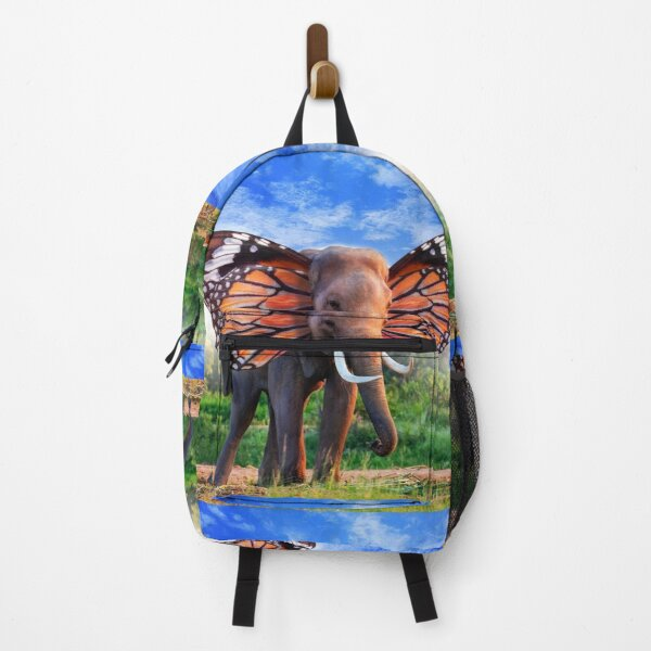 Surreal Elephant With Butterfly Wings a Surrealism Art Backpack