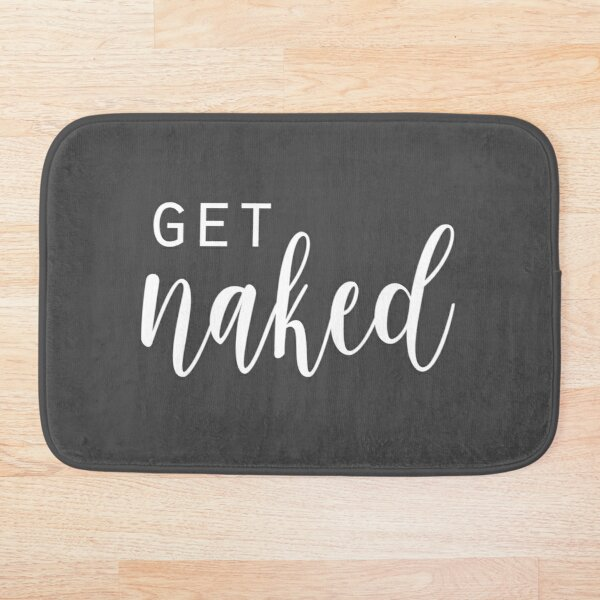 Get Naked - Fun Bathroom - grey and White Bath Mat