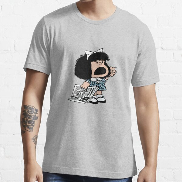 Angry Mafalda with newspaper and fist raised cartoon quino argentina Essential T-Shirt