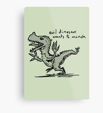 Evil Dinosaur Wants to Munch Metal Print