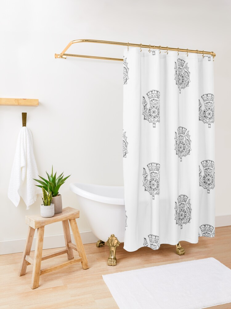 Alternate view of Thistle Mandala Shower Curtain