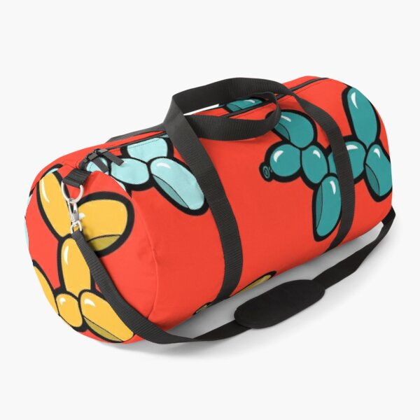 Balloon Animal Dogs Pattern in Red Duffle Bag
