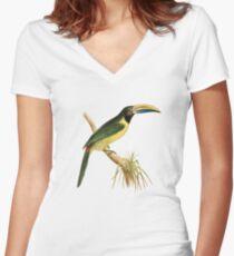 Green Aracari Bird Illustration by William Swainson Women's Fitted V-Neck T-Shirt