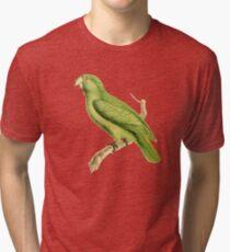 Green Parrot Bird Illustration by William Swainson Tri-blend T-Shirt