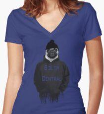Gangsta' Pug Women's Fitted V-Neck T-Shirt