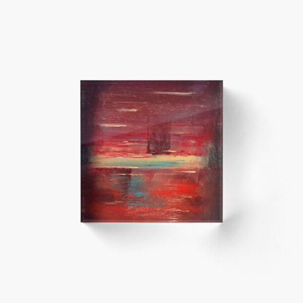 Red and yellow field Acrylic Block
