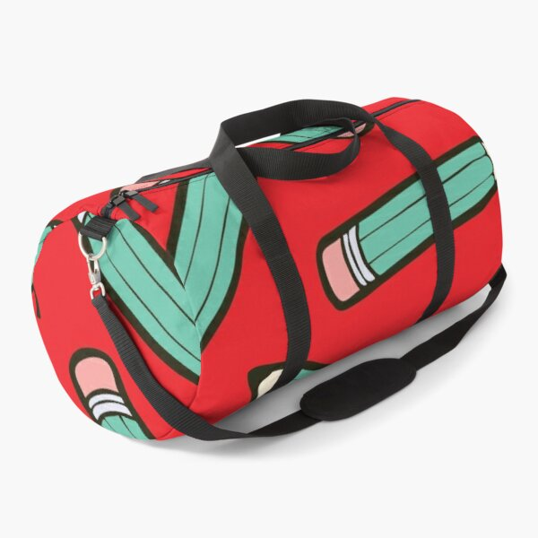 Pencil Power Red Pattern Duffle Bag
