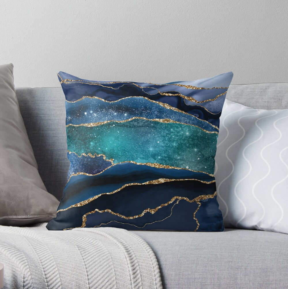Glamour Milky Way Marble Galaxy Throw Pillow