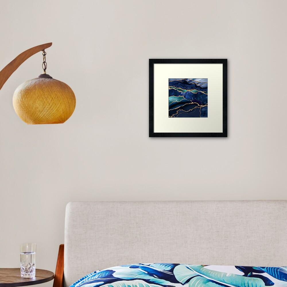 Glamour Milky Way Marble Galaxy I Framed Art Print