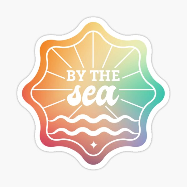 By the Sea in Rainbow Ombre Colors Sticker
