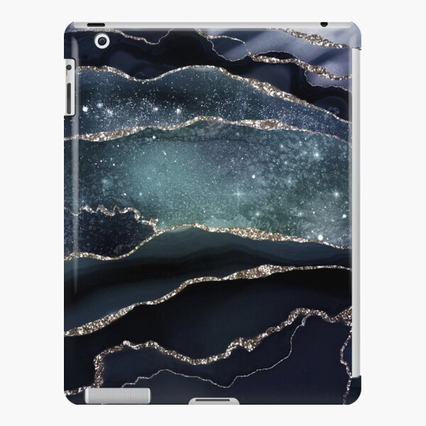 Glamour Night Black Milky Way Marble Galaxy iPad Snap Case