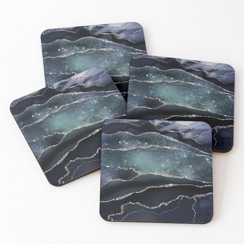 Glamour Night Black Milky Way Marble Galaxy Coasters (Set of 4)