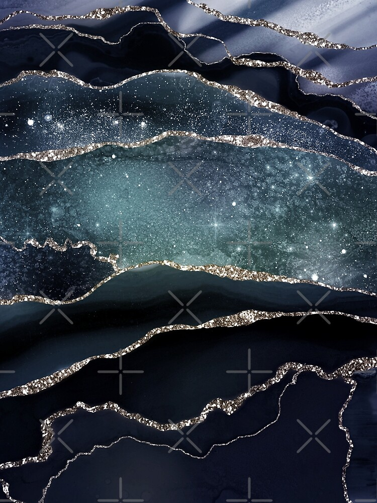 Glamour Night Black Milky Way Marble Galaxy by MysticMarble