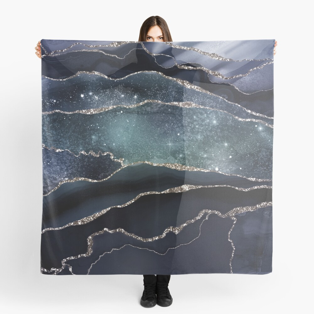 Glamour Night Black Milky Way Marble Galaxy Scarf