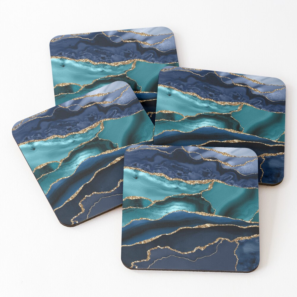 Glamour Ocean Blue Marble  Coasters (Set of 4)