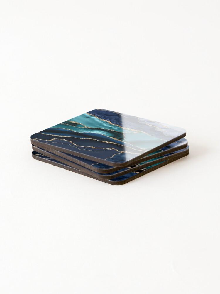 Alternate view of Glamour Ocean Blue Marble  Coasters (Set of 4)