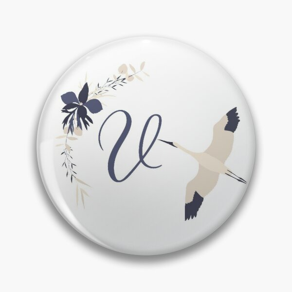 Fleur Initial V Pin