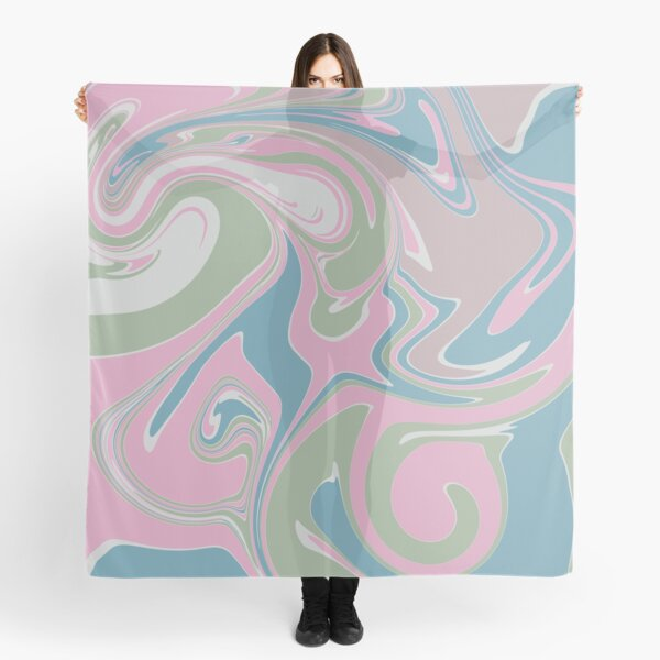 Pink and Blue Marble Swirl Pattern Scarf
