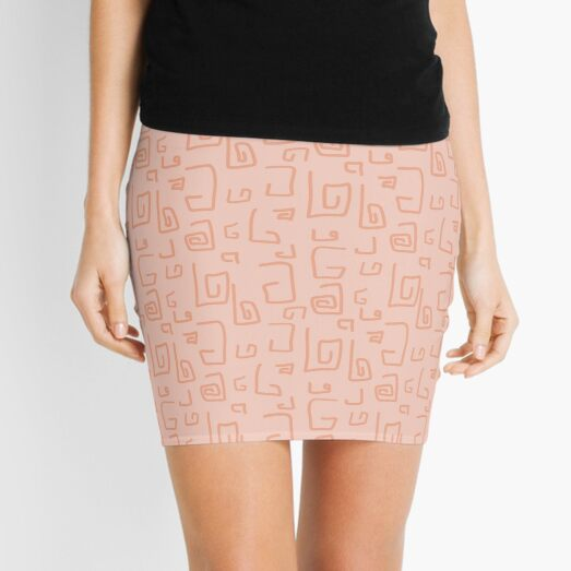 Random Doodles | Coral Peach | Pattern Mini Skirt