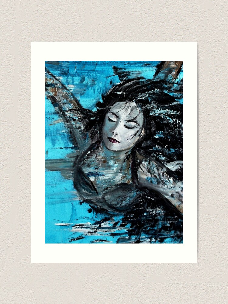Alternate view of The Swimmer - painted Art Print