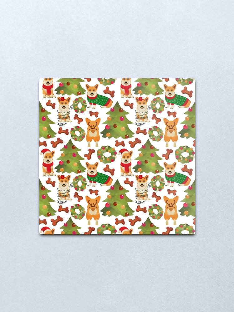 Alternate view of Corgi Christmas  White Metal Print