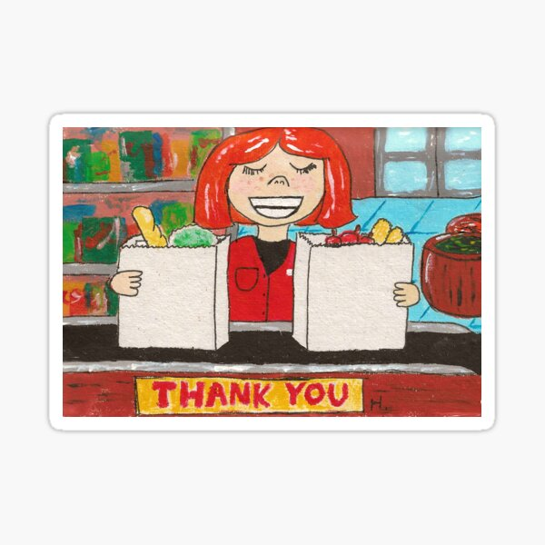 Retro grocery store thank-you Sticker